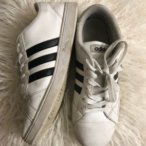 Adidas white with black stripes sneakers